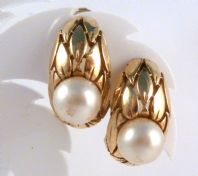 Vintage Faux Pearl Crown Trifari Clip On Earrings.